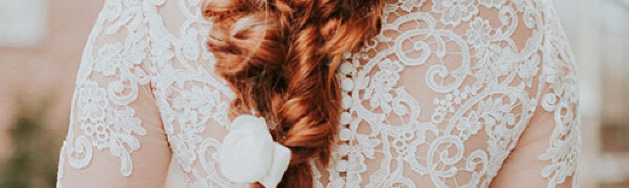 Red Haired bride with waterfall braid