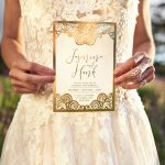 Gold boho wedding invitations