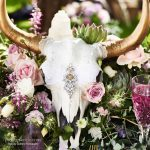 painted cow skull centerpiece