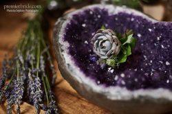 deep purple, sparkles, fresh lavender sprigs