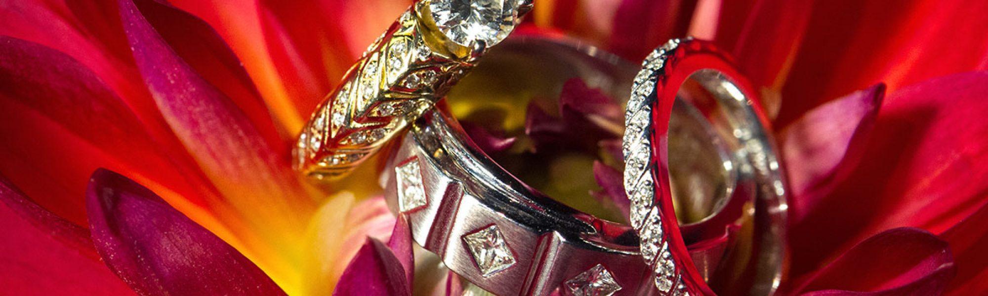 Bride and groom rings